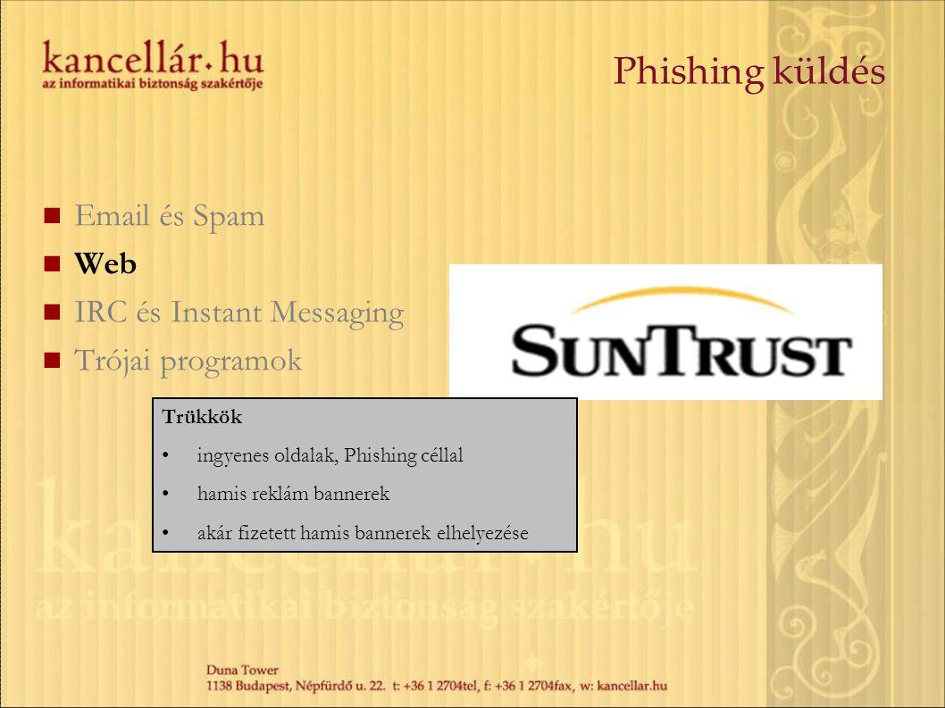 Email és Spam Web IRC és Instant Messaging Trójai programok Trükkök ingyenes oldalak, Phishing céllal hamis reklám bannerek akár fizetett hamis banner