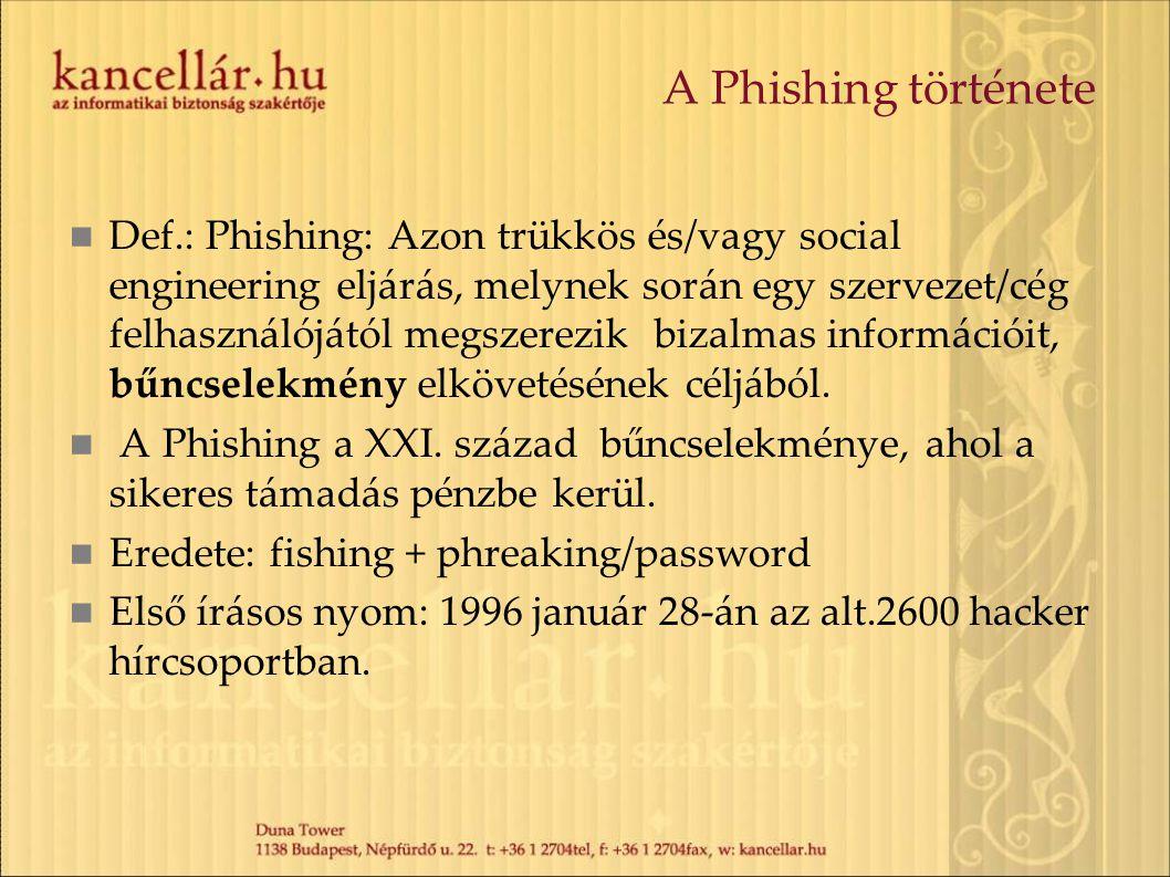 A Phishing története Def.: Phishing: Azon trükkös és/vagy social engineering eljárás, melynek során egy szervezet/cég felhasználójától megszerezik biz