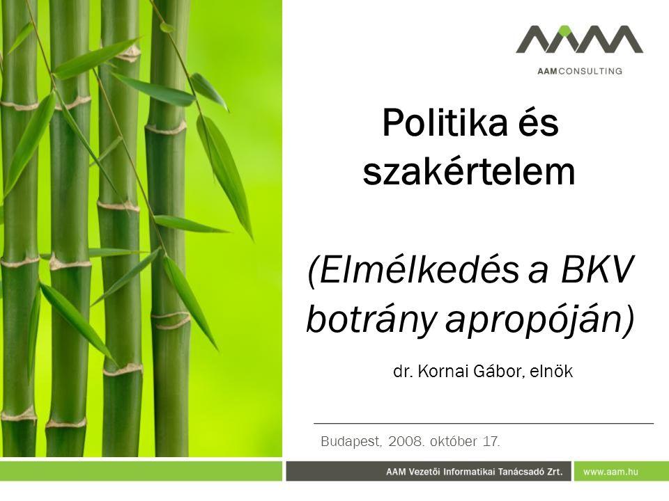 Politika és szakértelem (Elmélkedés a BKV botrány apropóján) dr.