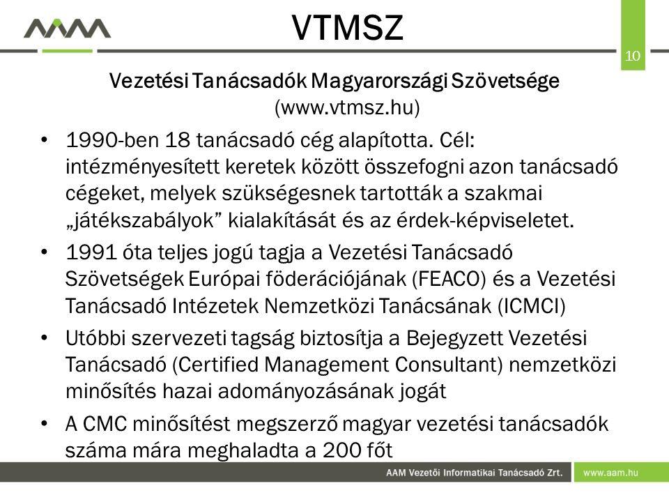 10 VTMSZ Vezetési Tanácsadók Magyarországi Szövetsége (www.vtmsz.hu) 1990-ben 18 tanácsadó cég alapította.