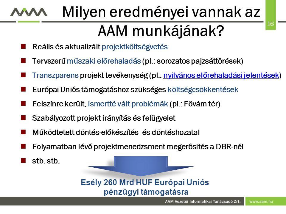 16 Milyen eredményei vannak az AAM munkájának.