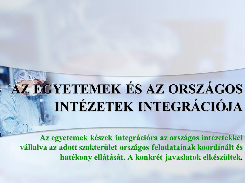 AZ EGYETEMEK ÉS AZ ORSZÁGOS INTÉZETEK INTEGRÁCIÓJA Az egyetemek készek integrációra az országos intézetekkel vállalva az adott szakterület országos feladatainak koordinált és hatékony ellátását.
