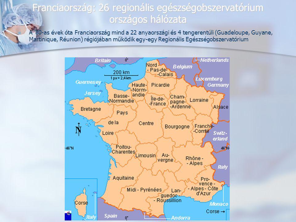 Franciaország: 26 regionális egészségobszervatórium országos hálózata A '80-as évek óta Franciaország mind a 22 anyaországi és 4 tengerentúli (Guadeloupe, Guyane, Martinique, Réunion) régiójában működik egy-egy Regionális Egészségobszervatórium A '80-as évek óta Franciaország mind a 22 anyaországi és 4 tengerentúli (Guadeloupe, Guyane, Martinique, Réunion) régiójában működik egy-egy Regionális Egészségobszervatórium