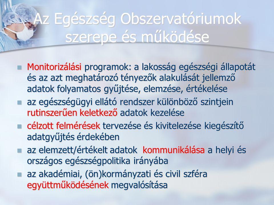 Az Egészség Obszervatóriumok szerepe és működése Monitorizálási programok: a lakosság egészségi állapotát és az azt meghatározó tényezők alakulását je