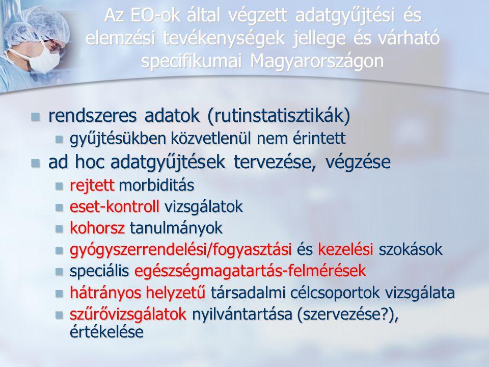 Az EO-ok által végzett adatgyűjtési és elemzési tevékenységek jellege és várható specifikumai Magyarországon rendszeres adatok (rutinstatisztikák) rendszeres adatok (rutinstatisztikák) gyűjtésükben közvetlenül nem érintett gyűjtésükben közvetlenül nem érintett ad hoc adatgyűjtések tervezése, végzése ad hoc adatgyűjtések tervezése, végzése rejtett morbiditás rejtett morbiditás eset-kontroll vizsgálatok eset-kontroll vizsgálatok kohorsz tanulmányok kohorsz tanulmányok gyógyszerrendelési/fogyasztási és kezelési szokások gyógyszerrendelési/fogyasztási és kezelési szokások speciális egészségmagatartás-felmérések speciális egészségmagatartás-felmérések hátrányos helyzetű társadalmi célcsoportok vizsgálata hátrányos helyzetű társadalmi célcsoportok vizsgálata szűrővizsgálatok nyilvántartása (szervezése?), értékelése szűrővizsgálatok nyilvántartása (szervezése?), értékelése