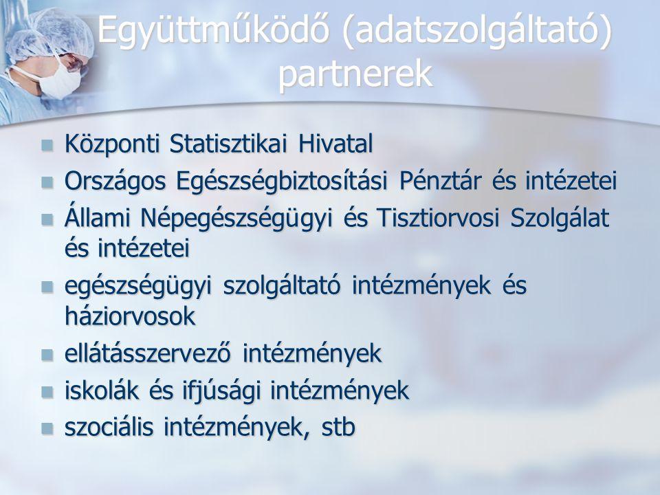 Együttműködő (adatszolgáltató) partnerek Központi Statisztikai Hivatal Központi Statisztikai Hivatal Országos Egészségbiztosítási Pénztár és intézetei