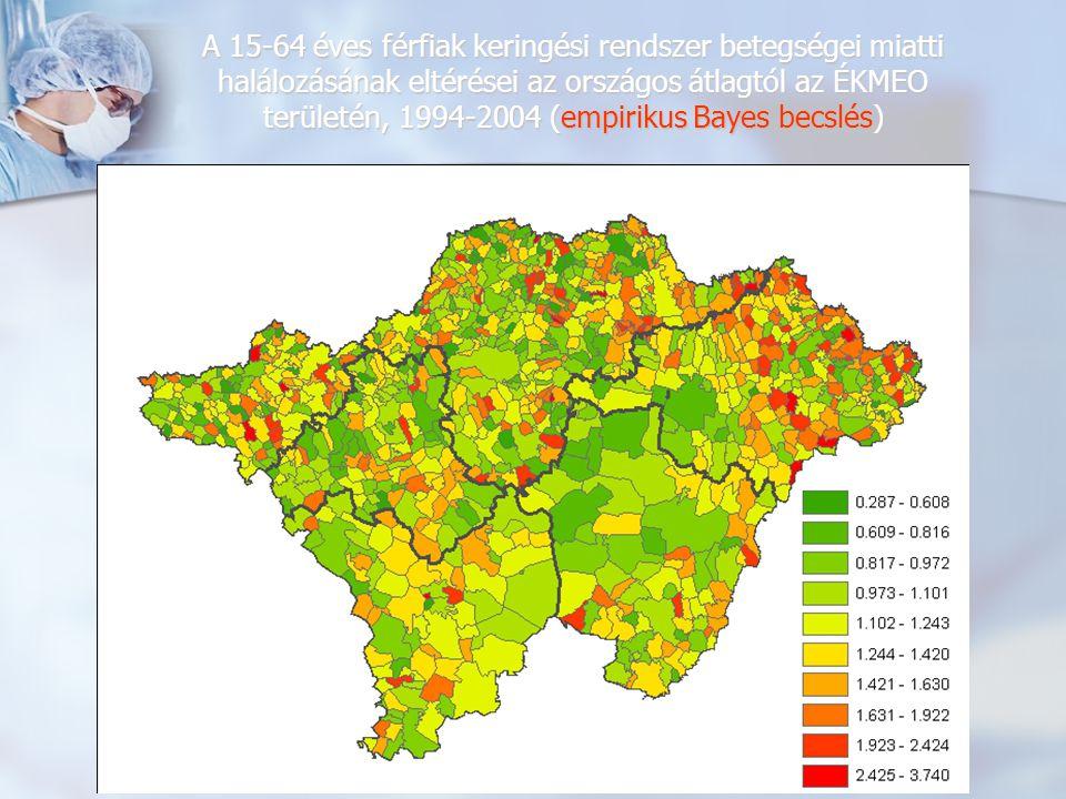 A 15-64 éves férfiak keringési rendszer betegségei miatti halálozásának eltérései az országos átlagtól az ÉKMEO területén, 1994-2004 (empirikus Bayes