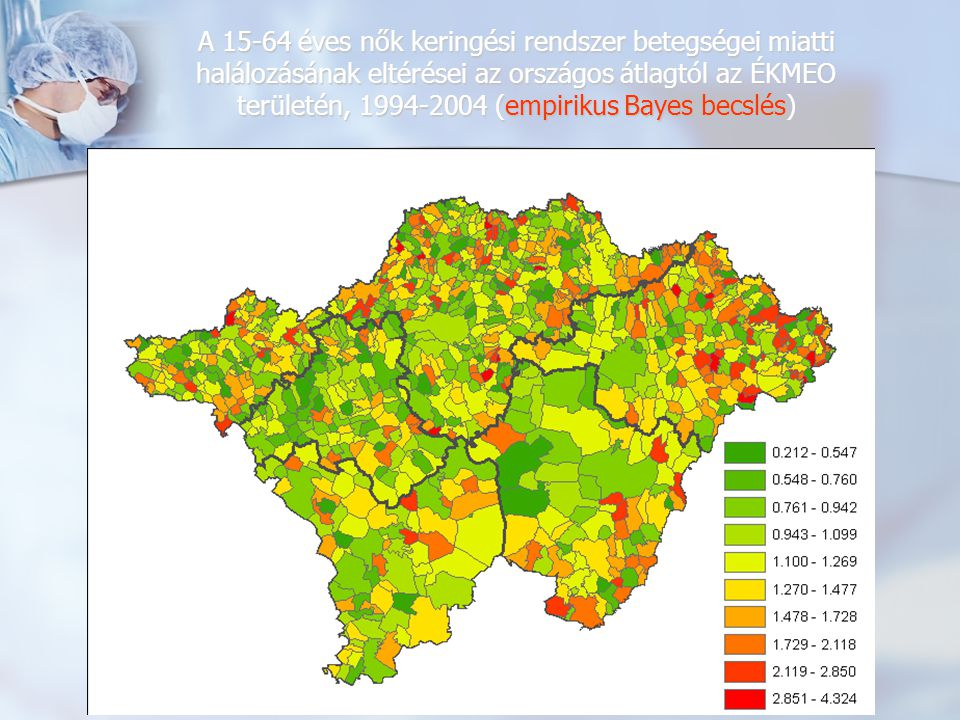 A 15-64 éves nők keringési rendszer betegségei miatti halálozásának eltérései az országos átlagtól az ÉKMEO területén, 1994-2004 (empirikus Bayes becslés)