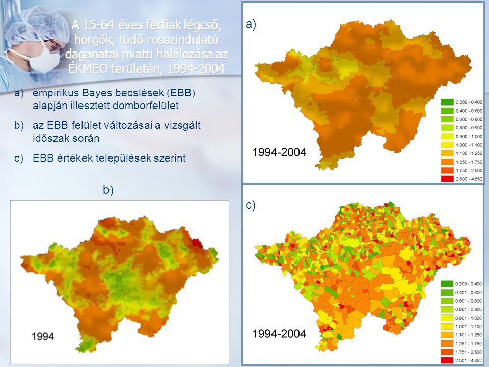A 15-64 éves férfiak légcső, hörgők, tüdő rosszindulatú daganatai miatti halálozása az ÉKMEO területén, 1994-2004 a)empirikus Bayes becslések (EBB) al