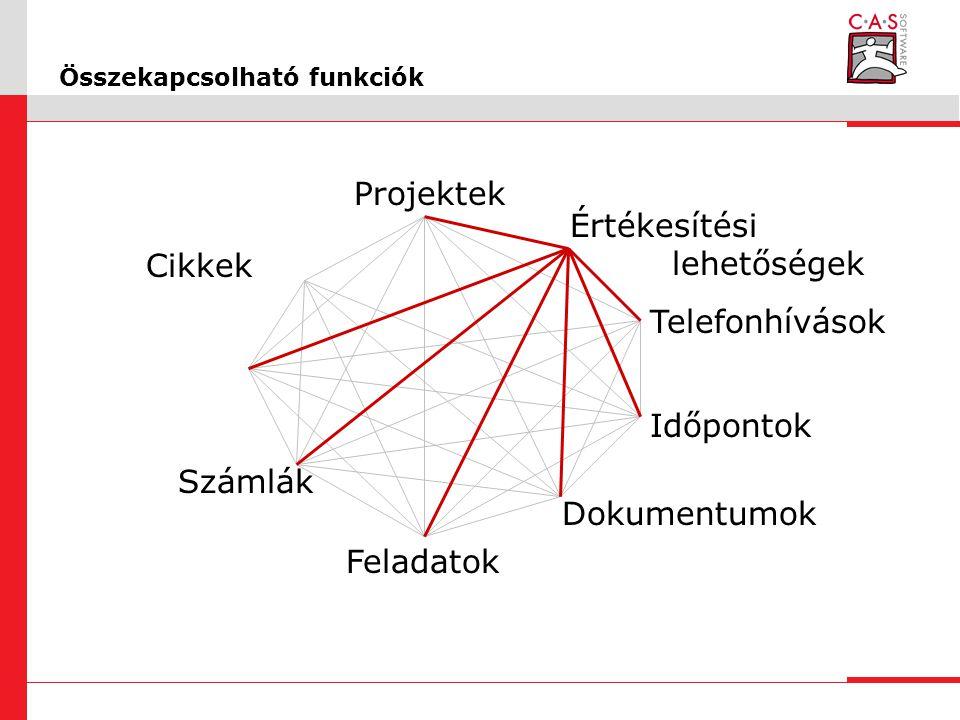 Összekapcsolható funkciók Időpontok Projektek Számlák Dokumentumok Cikkek Értékesítési lehetőségek Feladatok Telefonhívások