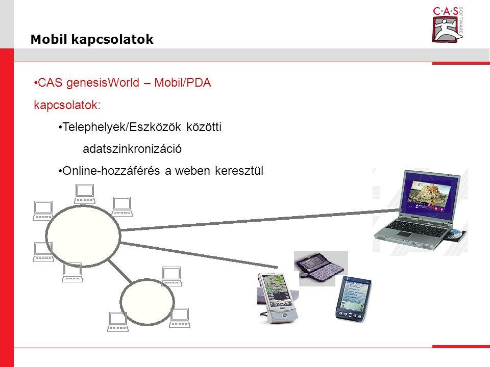 Mobil kapcsolatok CAS genesisWorld – Mobil/PDA kapcsolatok: Telephelyek/Eszközök közötti adatszinkronizáció Online-hozzáférés a weben keresztül