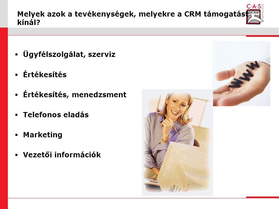 Melyek azok a tevékenységek, melyekre a CRM támogatást kínál.