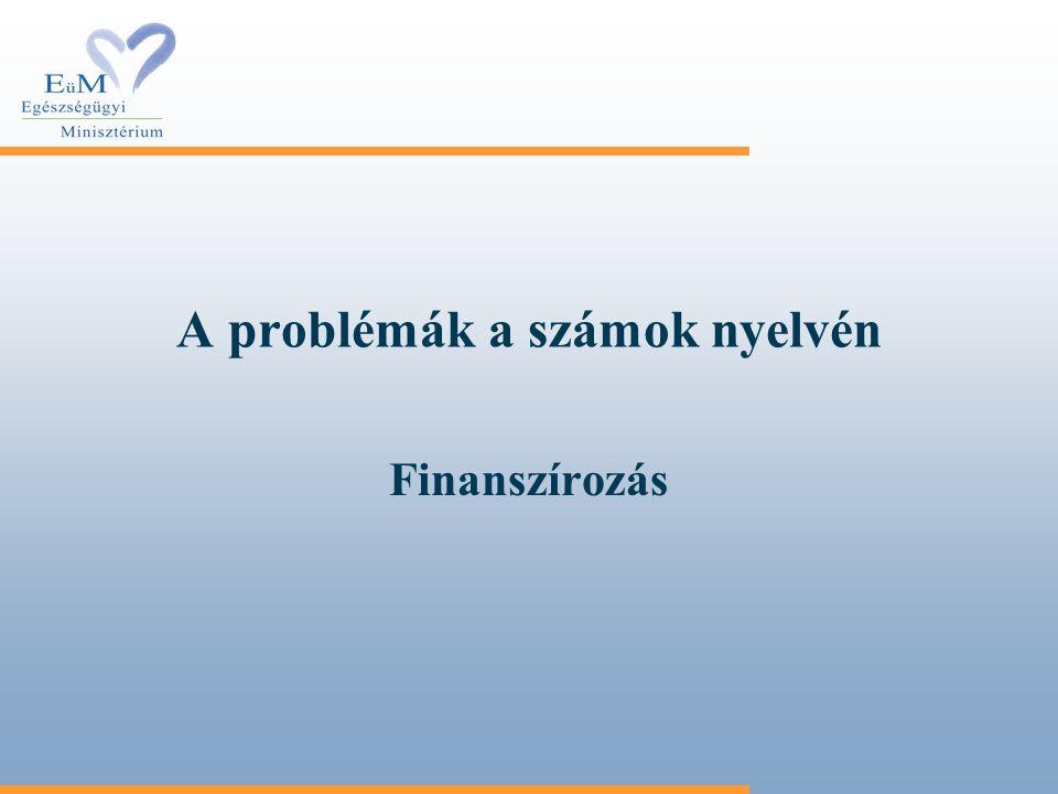 A problémák a számok nyelvén Finanszírozás