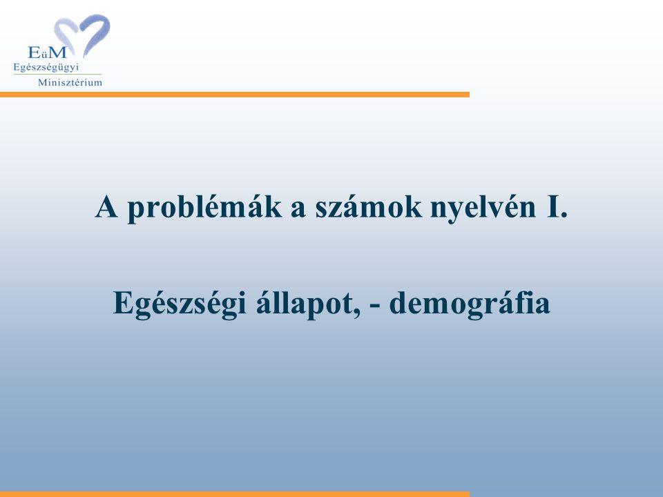 A problémák a számok nyelvén I. Egészségi állapot, - demográfia