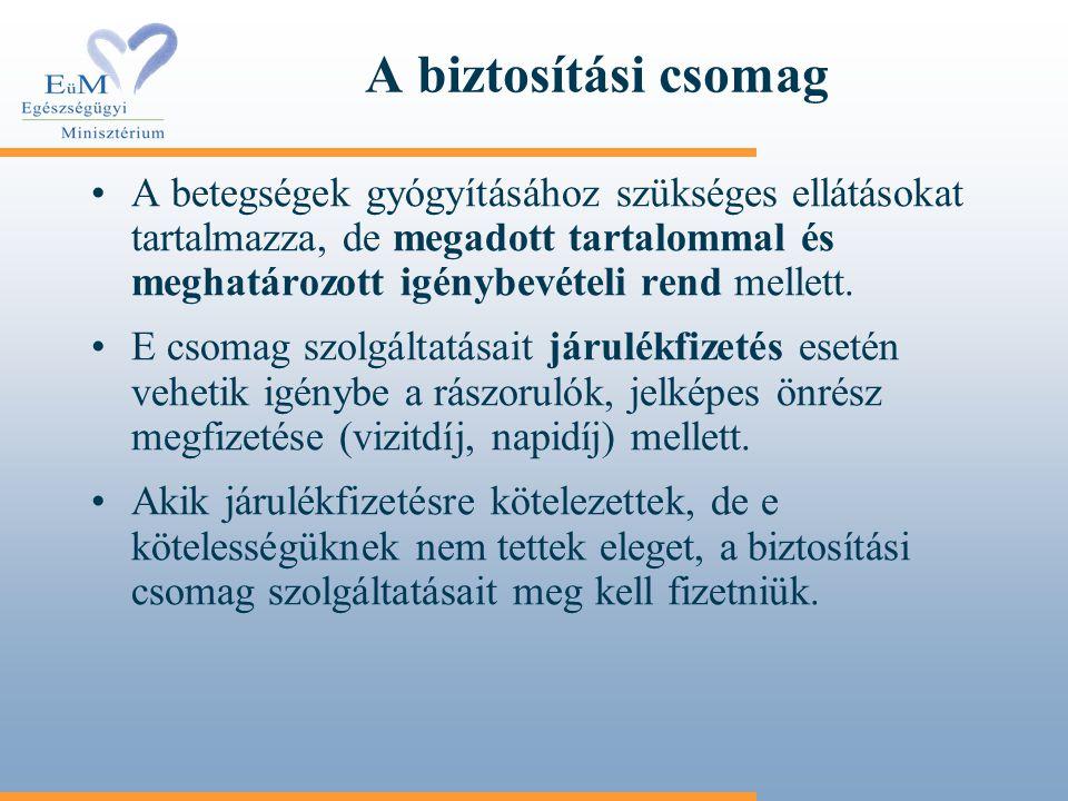 A biztosítási csomag A betegségek gyógyításához szükséges ellátásokat tartalmazza, de megadott tartalommal és meghatározott igénybevételi rend mellett
