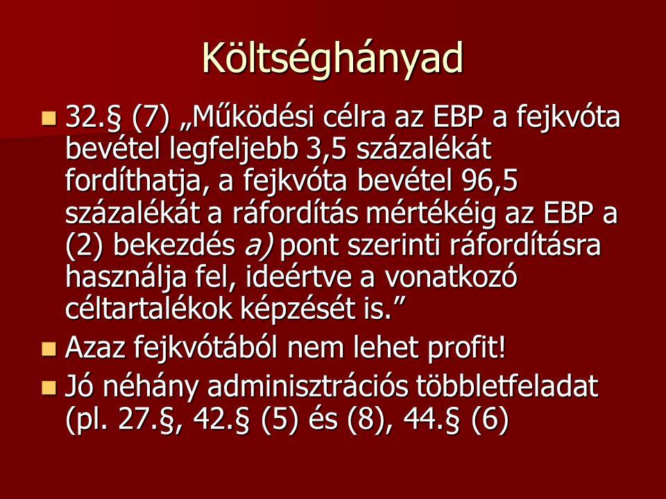 """Költséghányad 32.§ (7) """"Működési célra az EBP a fejkvóta bevétel legfeljebb 3,5 százalékát fordíthatja, a fejkvóta bevétel 96,5 százalékát a ráfordítás mértékéig az EBP a (2) bekezdés a) pont szerinti ráfordításra használja fel, ideértve a vonatkozó céltartalékok képzését is. 32.§ (7) """"Működési célra az EBP a fejkvóta bevétel legfeljebb 3,5 százalékát fordíthatja, a fejkvóta bevétel 96,5 százalékát a ráfordítás mértékéig az EBP a (2) bekezdés a) pont szerinti ráfordításra használja fel, ideértve a vonatkozó céltartalékok képzését is. Azaz fejkvótából nem lehet profit."""