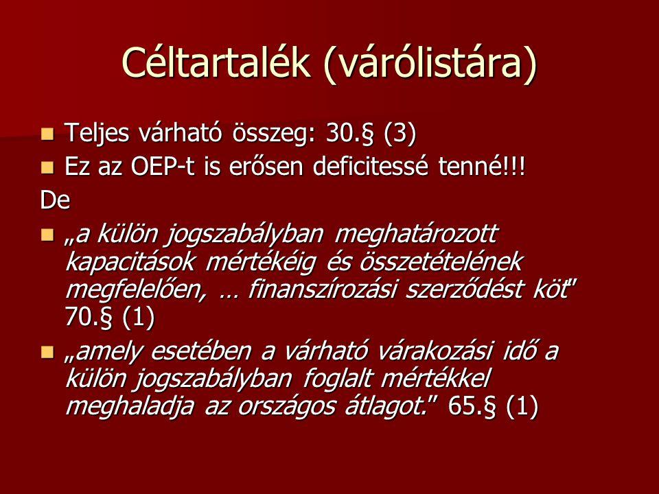 Céltartalék (várólistára) Teljes várható összeg: 30.§ (3) Teljes várható összeg: 30.§ (3) Ez az OEP-t is erősen deficitessé tenné!!! Ez az OEP-t is er