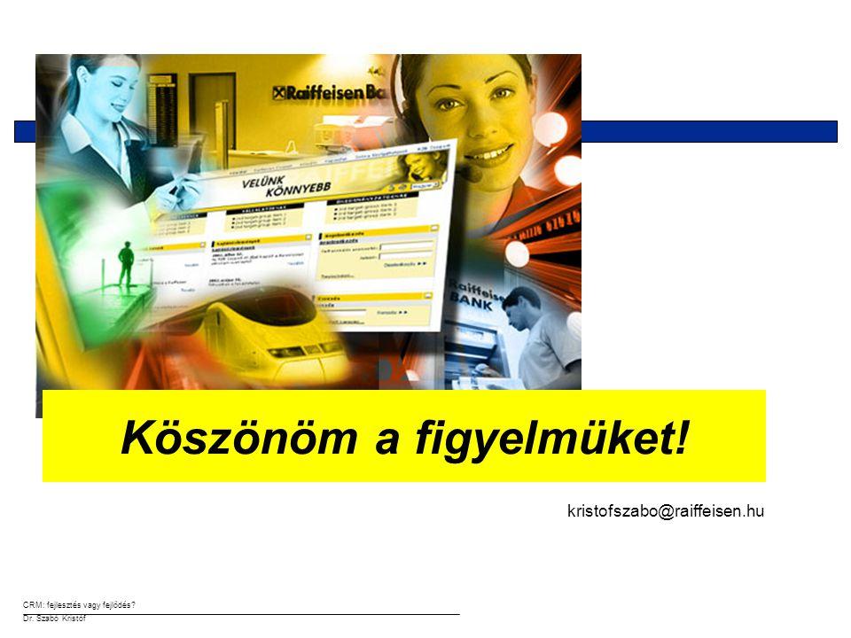 CRM: fejlesztés vagy fejlődés? Dr. Szabó Kristóf kristofszabo@raiffeisen.hu Köszönöm a figyelmüket!