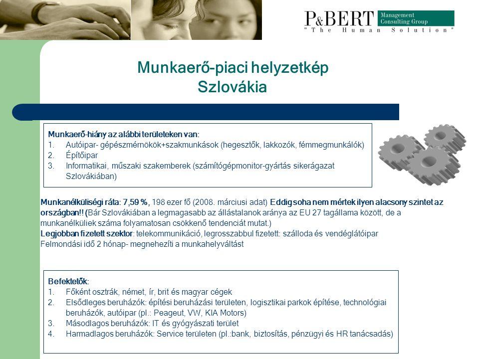 Munkaerő-hiány az alábbi területeken van: 1.Autóipar- gépészmérnökök+szakmunkások (hegesztők, lakkozók, fémmegmunkálók) 2.Építőipar 3.Informatikai, műszaki szakemberek (számítógépmonitor-gyártás sikerágazat Szlovákiában) Munkanélküliségi ráta: 7,59 %, 198 ezer fő (2008.