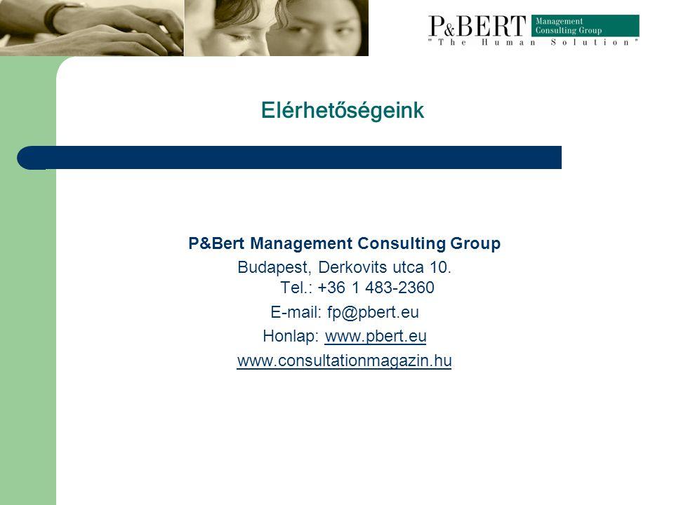 Elérhetőségeink P&Bert Management Consulting Group Budapest, Derkovits utca 10.