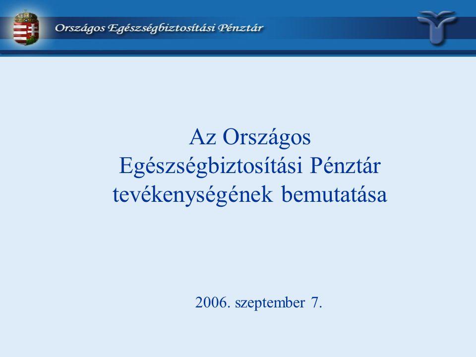 Az Országos Egészségbiztosítási Pénztár tevékenységének bemutatása 2006. szeptember 7.