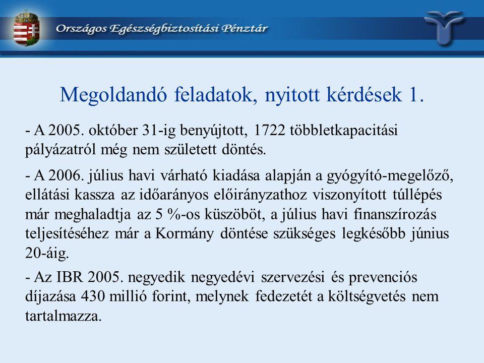Megoldandó feladatok, nyitott kérdések 1. - A 2005. október 31-ig benyújtott, 1722 többletkapacitási pályázatról még nem született döntés. - A 2006. j