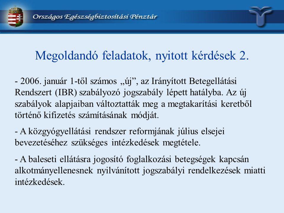 """Megoldandó feladatok, nyitott kérdések 2. - 2006. január 1-től számos """"új"""", az Irányított Betegellátási Rendszert (IBR) szabályozó jogszabály lépett h"""