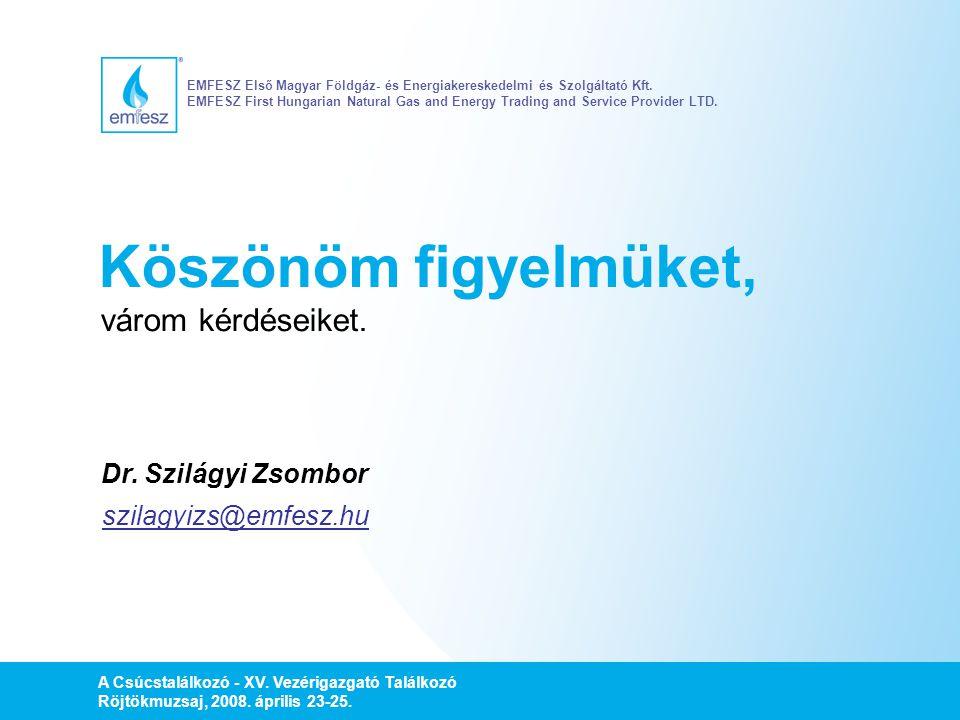A Csúcstalálkozó - XV. Vezérigazgató Találkozó Röjtökmuzsaj, 2008. április 23-25. Köszönöm figyelmüket, várom kérdéseiket. szilagyizs@emfesz.hu EMFESZ