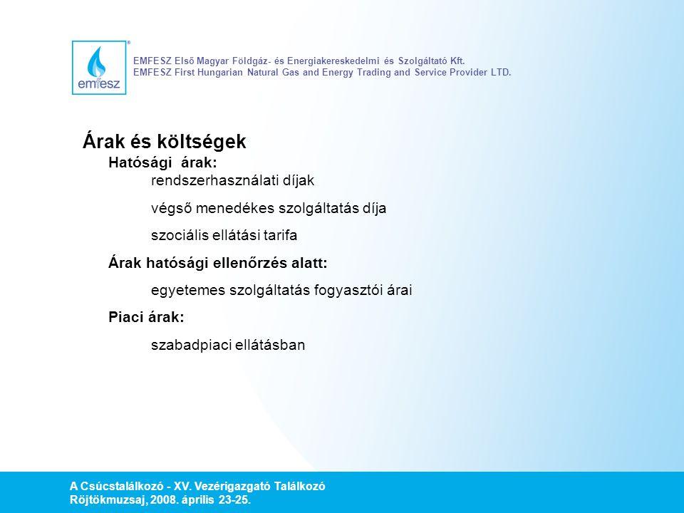 A Csúcstalálkozó - XV. Vezérigazgató Találkozó Röjtökmuzsaj, 2008. április 23-25. EMFESZ Első Magyar Földgáz- és Energiakereskedelmi és Szolgáltató Kf