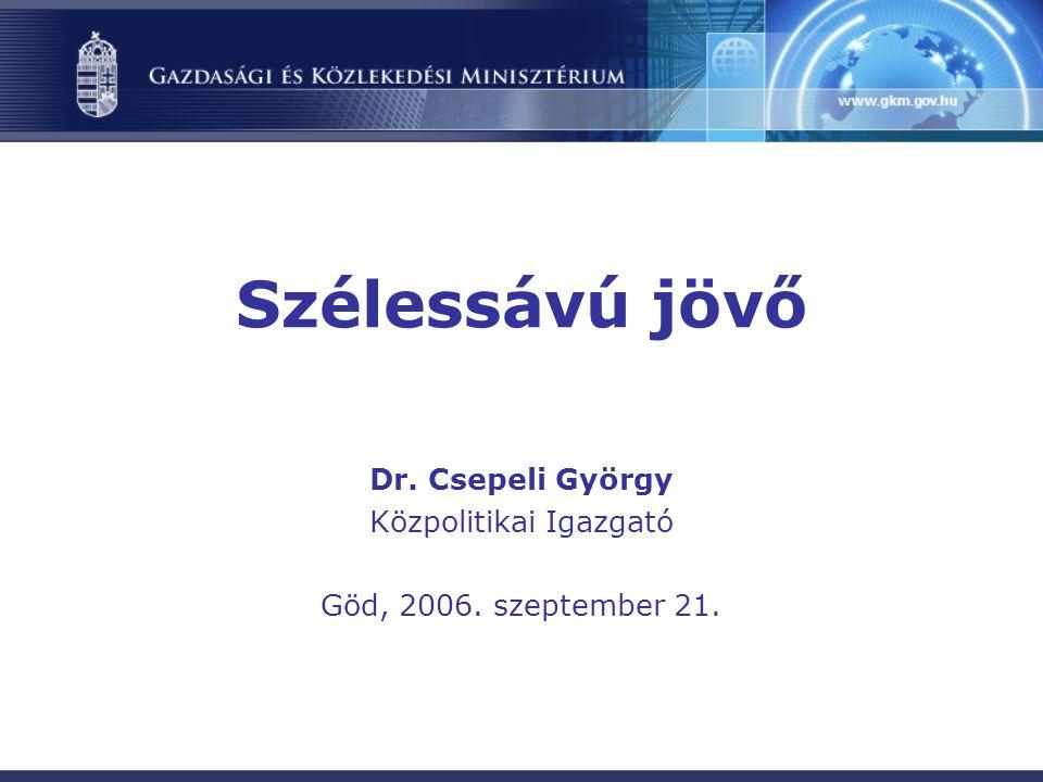 Szélessávú jövő Dr. Csepeli György Közpolitikai Igazgató Göd, 2006. szeptember 21.