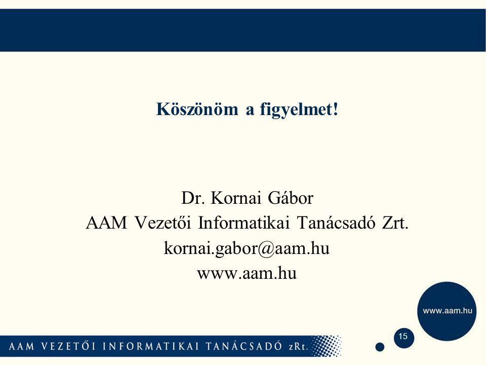 15 Köszönöm a figyelmet. Dr. Kornai Gábor AAM Vezetői Informatikai Tanácsadó Zrt.