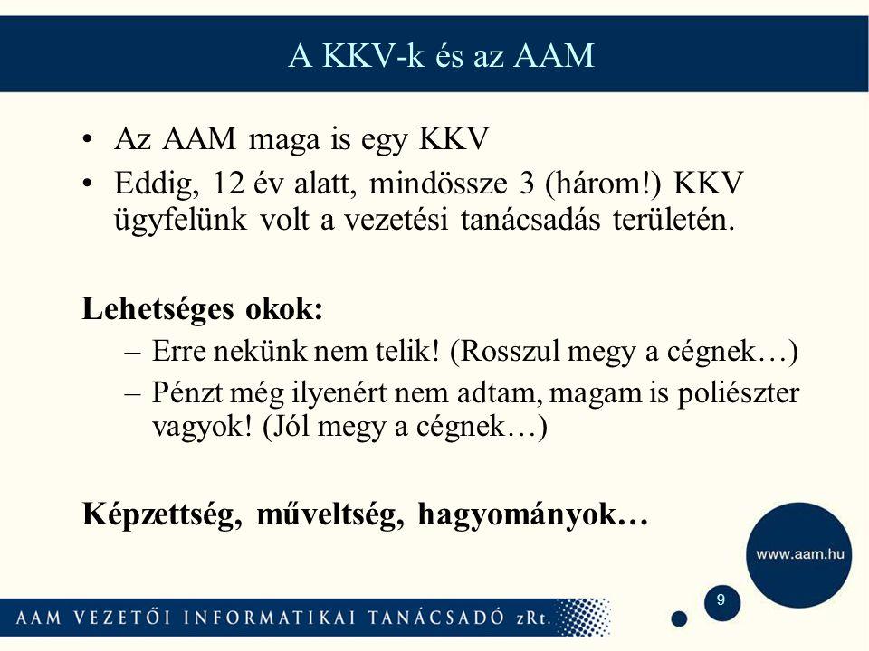 9 A KKV-k és az AAM Az AAM maga is egy KKV Eddig, 12 év alatt, mindössze 3 (három!) KKV ügyfelünk volt a vezetési tanácsadás területén.