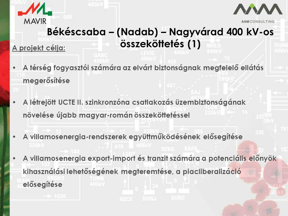 Békéscsaba – (Nadab) – Nagyvárad 400 kV-os összeköttetés (1) A projekt célja: A térség fogyasztói számára az elvárt biztonságnak megfelelő ellátás megerősítése A létrejött UCTE II.