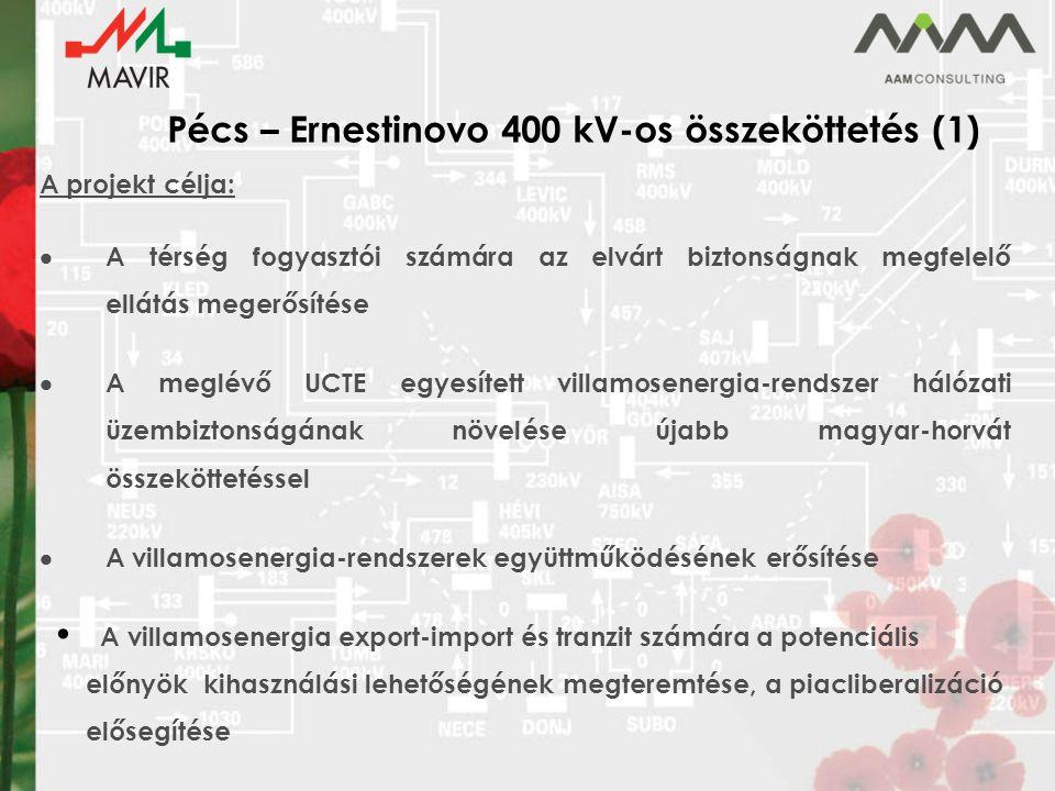 Pécs – Ernestinovo 400 kV-os összeköttetés (2) Oszlop típus : FENYŐ típusú oszlop, duplex felületvédelemmel Oszlopok száma: 117 db Áramvezető típusa: ACSR 500 mm 2 Védővezető típusa: 2*(2*24) OPGW Nyomvonal hossza: 42,3 km Beépítésre kerülő áramvezető hossz: 508 km