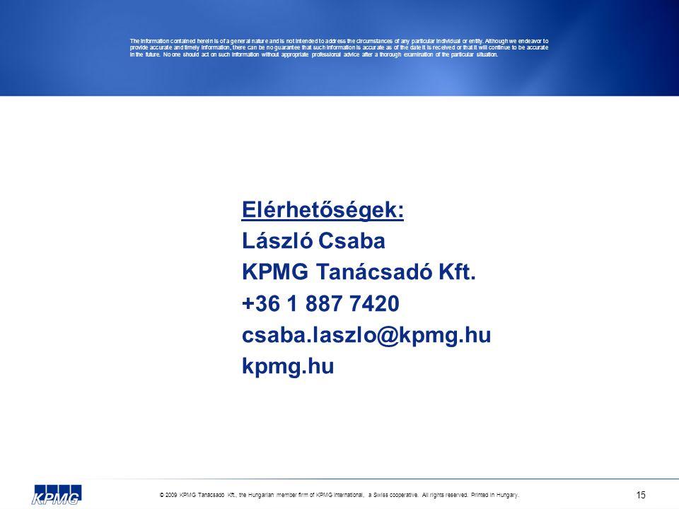 © 2009 KPMG Tanácsadó Kft., the Hungarian member firm of KPMG International, a Swiss cooperative. All rights reserved. Printed in Hungary. 15 Elérhető