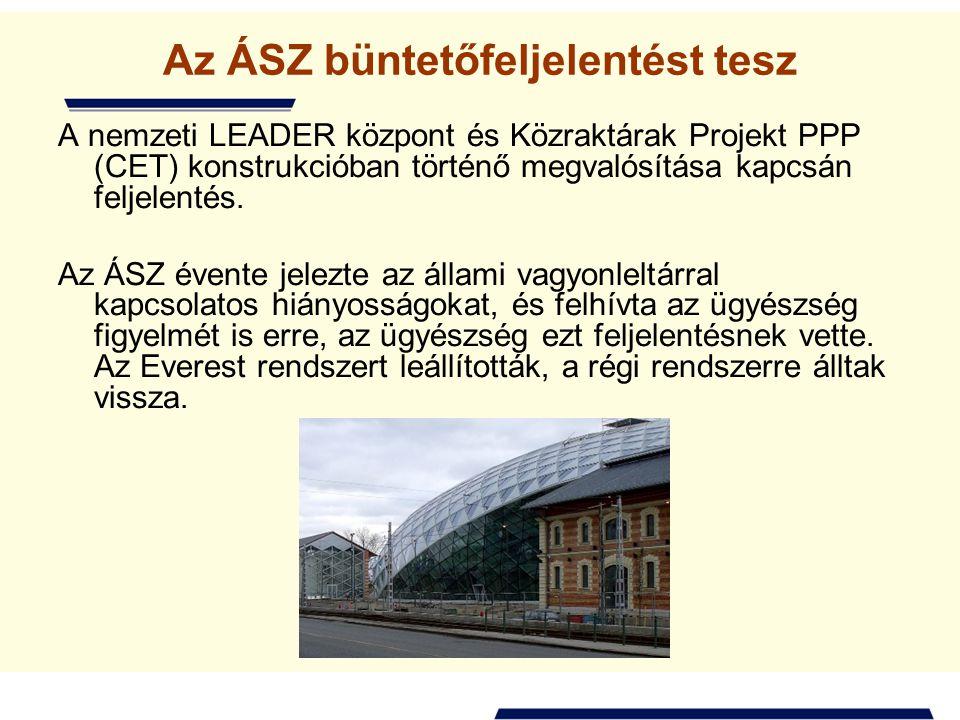 Az ÁSZ büntetőfeljelentést tesz A nemzeti LEADER központ és Közraktárak Projekt PPP (CET) konstrukcióban történő megvalósítása kapcsán feljelentés.