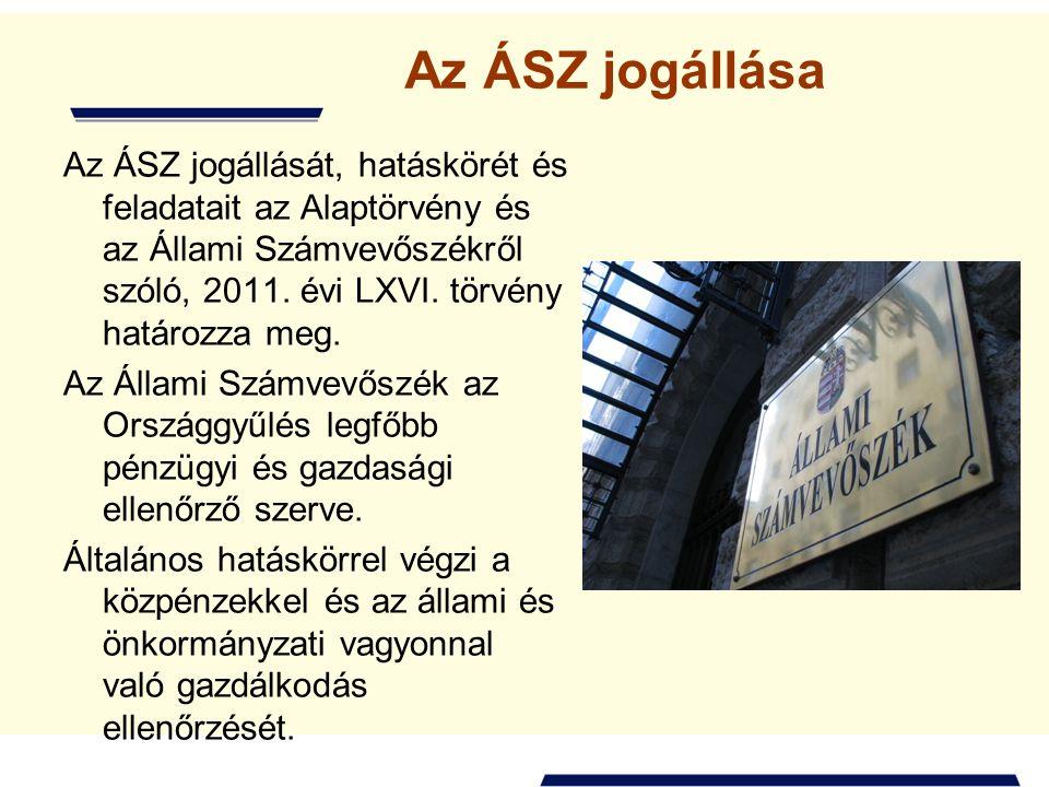 Az ÁSZ jogállása Az ÁSZ jogállását, hatáskörét és feladatait az Alaptörvény és az Állami Számvevőszékről szóló, 2011.