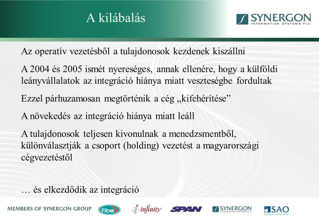 """Az operatív vezetésből a tulajdonosok kezdenek kiszállni A 2004 és 2005 ismét nyereséges, annak ellenére, hogy a külföldi leányvállalatok az integráció hiánya miatt veszteségbe fordultak Ezzel párhuzamosan megtörténik a cég """"kifehérítése A növekedés az integráció hiánya miatt leáll A tulajdonosok teljesen kivonulnak a menedzsmentből, különválasztják a csoport (holding) vezetést a magyarországi cégvezetéstől … és elkezdődik az integráció A kilábalás"""