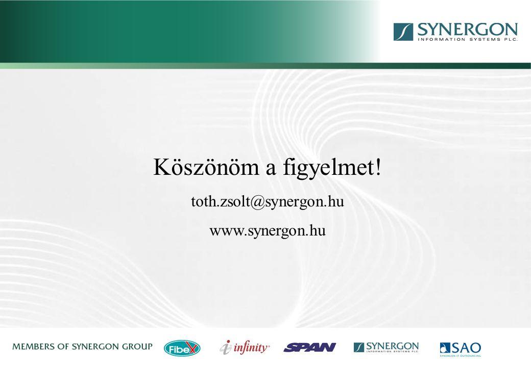 Köszönöm a figyelmet! toth.zsolt@synergon.hu www.synergon.hu