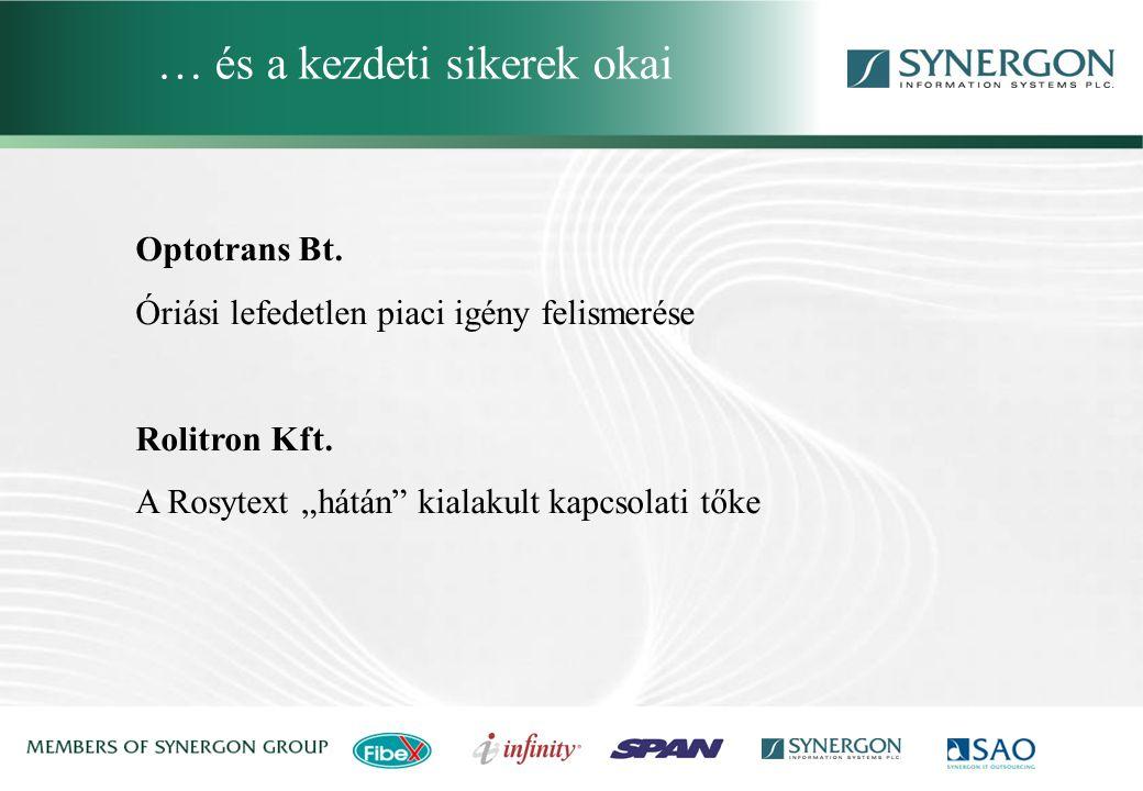 """Optotrans Bt. Óriási lefedetlen piaci igény felismerése Rolitron Kft. A Rosytext """"hátán"""" kialakult kapcsolati tőke … és a kezdeti sikerek okai"""