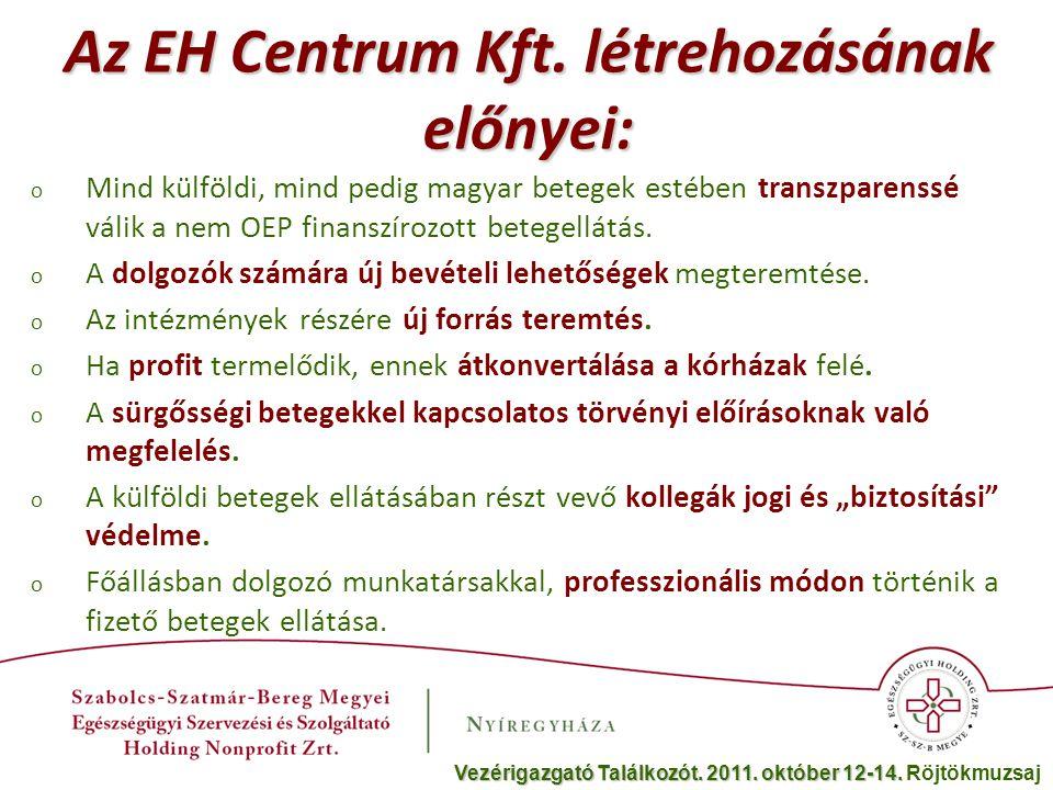 o Mind külföldi, mind pedig magyar betegek estében transzparenssé válik a nem OEP finanszírozott betegellátás. o A dolgozók számára új bevételi lehető