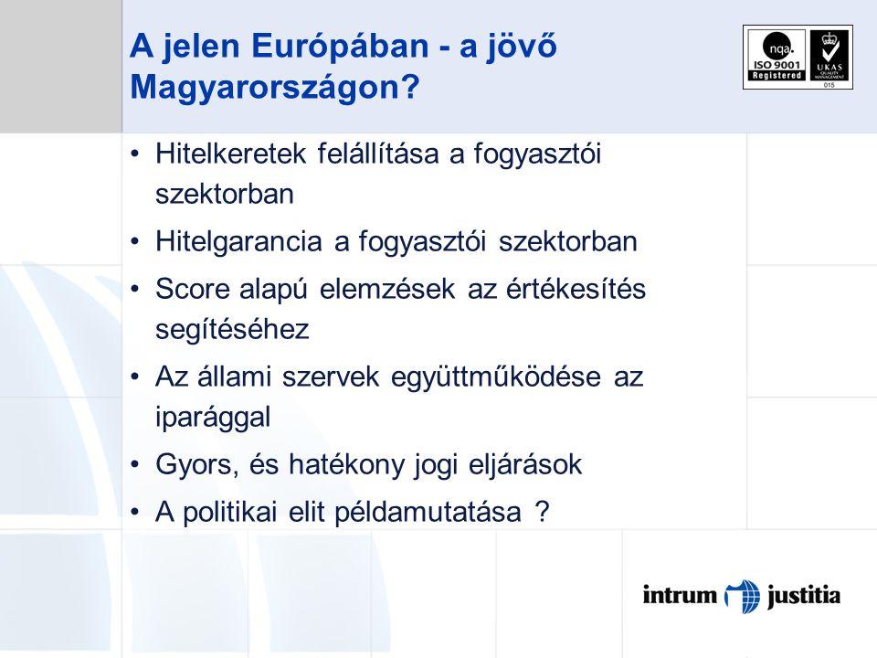A jelen Európában - a jövő Magyarországon? Hitelkeretek felállítása a fogyasztói szektorban Hitelgarancia a fogyasztói szektorban Score alapú elemzése