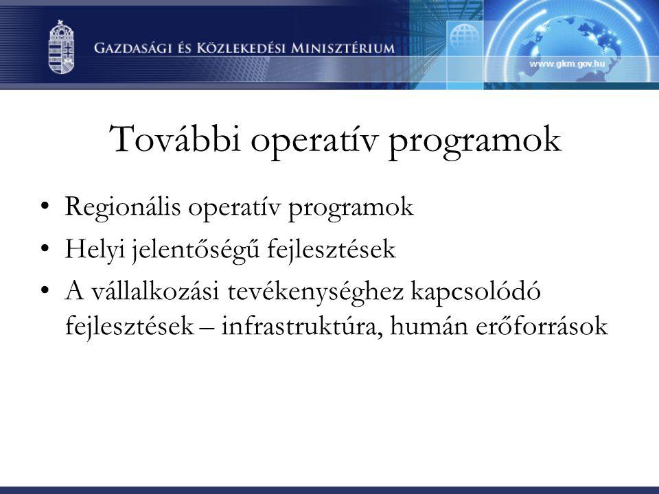 További operatív programok Regionális operatív programok Helyi jelentőségű fejlesztések A vállalkozási tevékenységhez kapcsolódó fejlesztések – infrastruktúra, humán erőforrások
