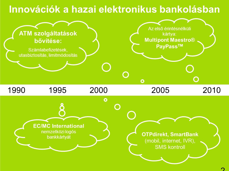 2 Innovációk a hazai elektronikus bankolásban ATM szolgáltatások bővítése: Számlabefizetések, utasbiztosítás, limitmódosítás EC/MC International nemze