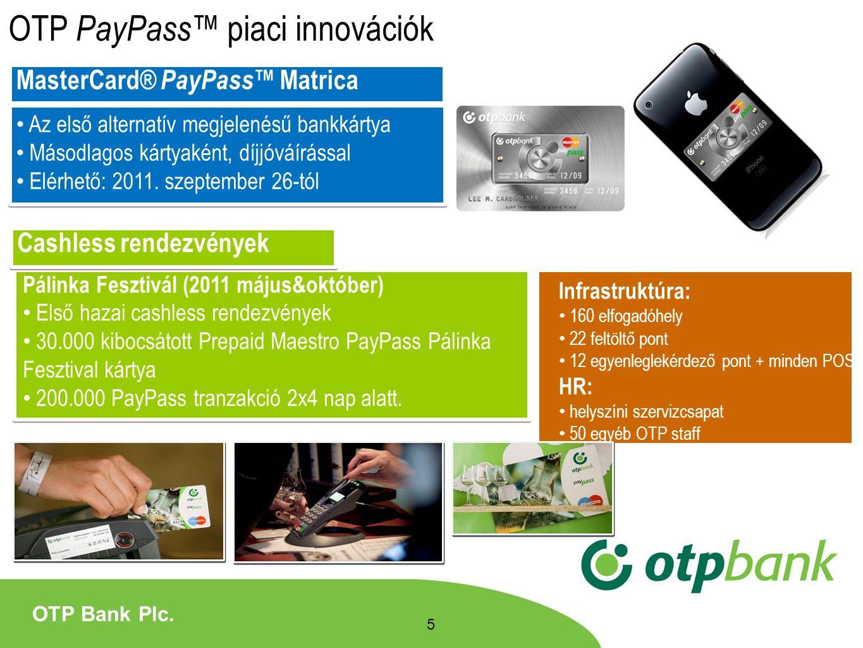 OTP PayPass™ piaci innovációk MasterCard® PayPass™ Matrica Az első alternatív megjelenésű bankkártya Másodlagos kártyaként, díjjóváírással Elérhető: 2