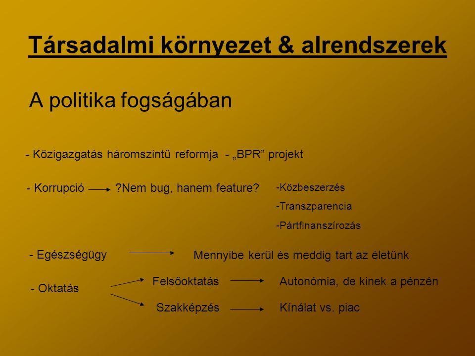"""Társadalmi környezet & alrendszerek A politika fogságában - Közigazgatás háromszintű reformja - """"BPR projekt - Korrupció - Egészségügy - Oktatás Nem bug, hanem feature."""