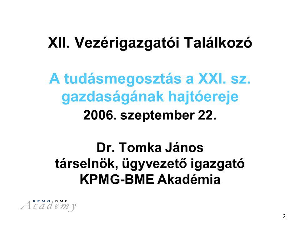 2 XII. Vezérigazgatói Találkozó A tudásmegosztás a XXI.