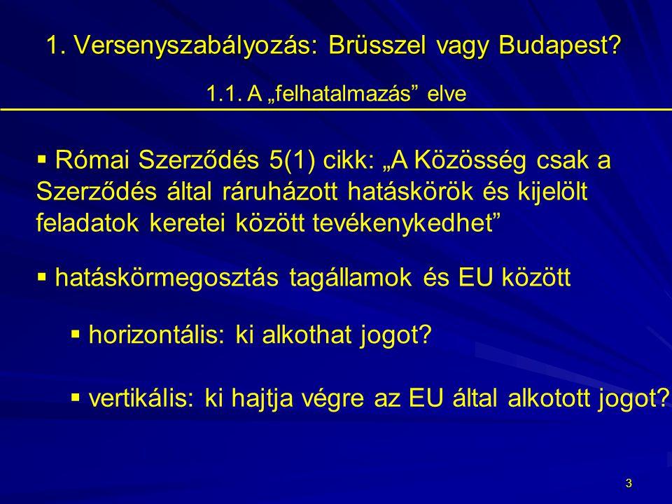 2 1.Versenyszabályozás: Brüsszel vagy Budapest?