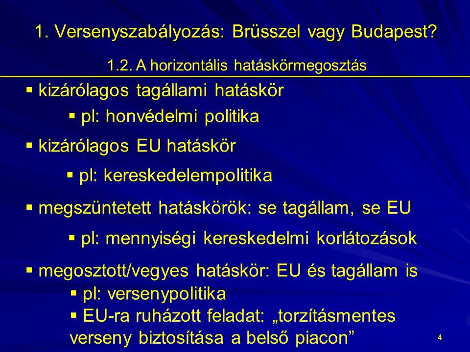 3 Versenyszabályozás: Brüsszel vagy Budapest.1. Versenyszabályozás: Brüsszel vagy Budapest.