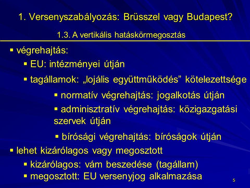 4 Versenyszabályozás: Brüsszel vagy Budapest.1. Versenyszabályozás: Brüsszel vagy Budapest.